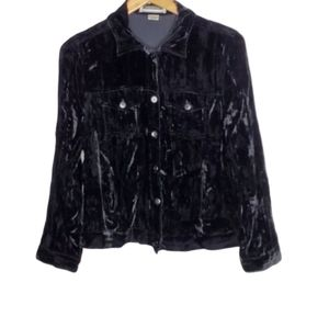 Leslie Fay Velvet Black Button Up Jacket shirt